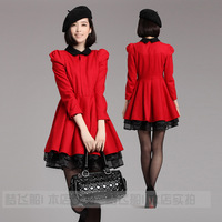 2013 autumn and winter princess organza puff skirt dress peter pan collar woolen women's one-piece dress red plus size