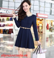 2013 autumn women's one-piece dress peter pan collar long-sleeve skirt princess dress knitted lace embroidery