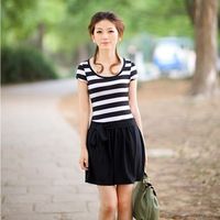 2013 summer short skirt mm plus size clothing slim stripe one-piece dress