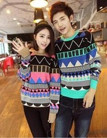 2013 autumn men's clothing color block rhombus male sweater slim sweater lovers