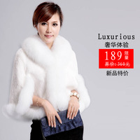2013 autumn and winter luxury fox fur rex rabbit hair waistcoat cloak fur coat top vest