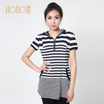 Summer plus size clothing short-sleeve knitted medium-long Women brief stripe t-shirt b12486