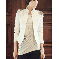 Autumn double breasted epaulette slim handsome short blazer jacket