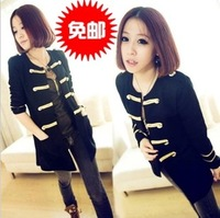 2013 autumn knitted cotton cardigan women's gold buckle yarn long-sleeve outerwear female
