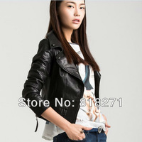 Women ladies brand real sheepskin genuine leather short jackets black jacket coats coat womens