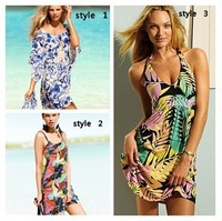 2013 hot selling summer holiday Bohemian restoring ancient style flower beach dress for ladies 3 styles can choose big discount