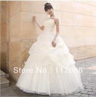 2013 new arrival white Champagne fashion grid yarn lace-up ball gown wedding dresses with appliques