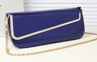 new arrival PU leather glossy women's luxury brand handbag shoulder clutch bag long horizontal metal edge high quality gifts