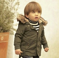 Free Shipping 2014 boy the winter hooded coat top children quality wadded jacket/parkas baby clothing retail and wholsale CS036