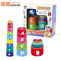 Buttressed music fun puzzle toy buttressed cup set digital letter bath toys