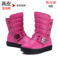 Child genuine leather snow boots 2013 male child leather boots female child boots winter thermal cotton-padded shoes