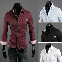 2013 summer new new men's business casual long-sleeved shirt Sau San muscle shirt tide male quality menswear Free Delivery
