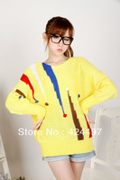 Women's steadily high three-dimensional candy color block batwing sleeve o-neck pullover long-sleeve