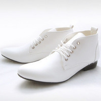 New arrival 2014 fashion pointed toe leather male casual leather elevator wedding shoes Black, White Free shipping