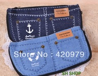 Free shipping Denim shorts pen bag for student canvas cosmetic pouch for lady as small things storage bag.