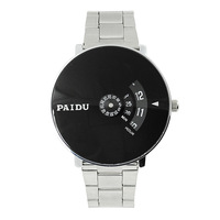 Silver Black PAIDU Quartz Wrist Watch Turntable Dial Mens Clock Hours Gift