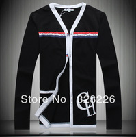 Free shipping selling-hot 2013 NEW autumn male British style High quality fashion casual cotton cardigan t-shirt M-3XL SIZE