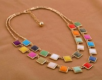 SP323 big European and American tems inlaid jewelry wholesale candy-colored multi-layered necklace fema fashion women jewelry