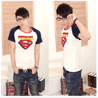 New arrival cartoon o-neck short-sleeve T-shirt men's clothing clothes personalized super man summer slim
