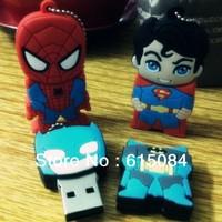 Hot Selling Silicon Cartoon Superhero Superman Portable U Disk Pendrive 4GB 8GB 16GB 32GB USB Flash Drive Memory Stick Pen Drive