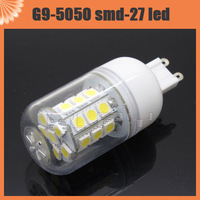 10pcs Free Shipping G9|E27|E14 5W 5050 SMD 27 LED Corn Spot Light Bulb White / Warm White 220V Lamp With Cover