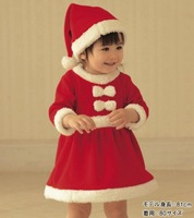 wholesale 2013 baby New winter  Girls Christmas Dresses+hat,size:80-90-100,Free shipping
