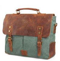 Classic!  Free shipping 100% genuine Leather vintage fashion cowhide Briefcase rucksack canvas the knapsack unisex business bag
