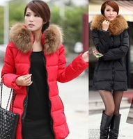 Winter new arrival raccoon large fur collar slim down wadded jacket thermal outerwear medium-long female wadded jacket