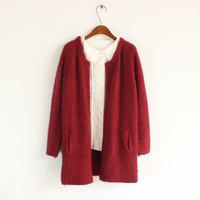 All-match elegant mohair no button medium-long massifs cardigan sweater