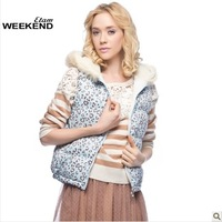 Etam 2013 winter with a hood fur collar leopard print wadded jacket vest 130235036 - 45 - 399