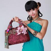 National 2013 trend three-dimensional embroidered bag handmade tassel shoulder bag satin bags gyokuro