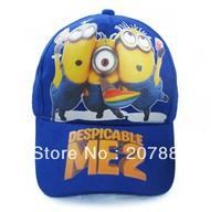 Free Shipping !2013 Hot Sale Despicable Me 2 Cap Cartoon Children Sports Hat Minion Visors Cap A3016 Wholesale 100pcs/Lot