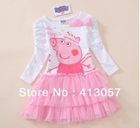 Ready to Deliver!!! Free shipping! Peppa Pig girls kids long sleeve TUTU dress dresses 5pcs/lot F68