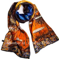2012 FASHION SCARF 100% MULBERRY SILK SCARF SHAWL PONCHO WRAP ART OIL PAINT HANDMADE TRIM 156X42CM FREE SHIPPING SF0018