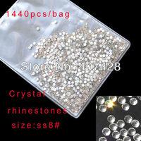 SS8 Crystal Rhinestone Transparent color 1440pcs/bag For Nail Art   free shipping