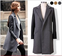 Fashion leather patchwork medium-long suit collar cashmere trench, overcoat for women winter 2013, WWD030