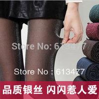 Winter women sexy tights/panty/knitting in stockings trousers panty-Gold silver twinkle blue silkTT011-1pcs