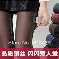 Winter women sexy tights/panty/knitting in stockings trousers panty-Gold silver twinkle blue silkTT011-1pcs