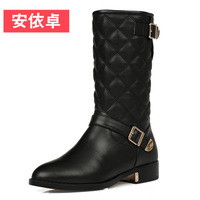 2013 women's boots spring and autumn medium-leg boots riding boots female genuine leather motorcycle boots low-heeled martin