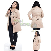 Women's Plus Size Tops Wind-Breaker Double-Breasted With Waistband Rain Coats Extra Large Jackets Outwears Trenches 1X/2X/3X/4X