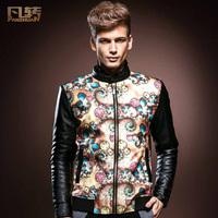 New 2013 men's autumn winter fashion leather jacket Men long sleeve jackets coat outerwear