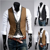 New Fashion Men's Faux Two Pieces Stylish Tank Tops Slim Fit Vest Black/Khaki M~XL Large Size Freeshipping#MT003
