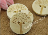 Children's buttons Solid wood color 30mm round two holes Wooden love tree buttons,coat sweater DIY buttons,wholesale 100pcs/lot