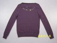 2011chaber spring and autumn women's beading blending wool sweater top sweater