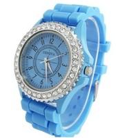 2013 Jelly Watch Gel Crystal Silicone Men Lady Unisex Geneva Watch crystal bling candy Silicone watch Quartz Watches