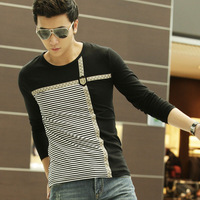 Handaiwei autumn 2013 o-neck navy style shirt t-shirt male stripe slim long-sleeve T-shirt male