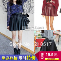 Women Lady Girl Leather Flared Sexy Short Mini Pleated Skirt Black Red