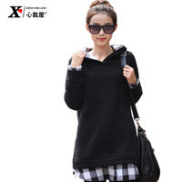 2013 winter mm plus size clothing plaid long design plus velvet thickening sweatshirt