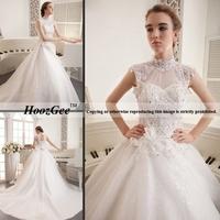 Free Shipping High-end Custom Retro High-Neck Cap Sleeve Royal Train Luxury Sequins Embroidery Bride Wedding Dress HoozGee-8723