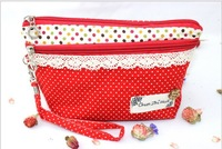 2013 new arrived cotton cloth zipper design women cosmetic bag Cute dot girl coin purses mobile phone bag free shipping HYX169